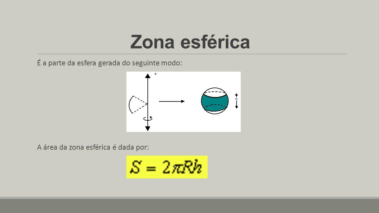 Zona esférica É a parte da esfera gerada do seguinte modo: A área da zona esférica é dada por: