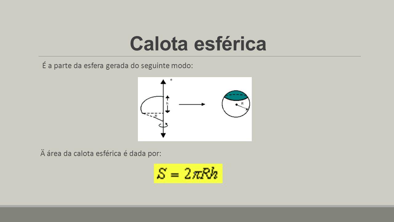 Calota esférica É a parte da esfera gerada do seguinte modo: Ä área da calota esférica é dada por:
