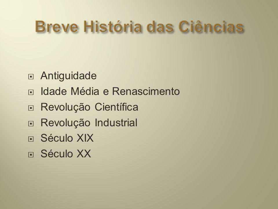 Antiguidade  Idade Média e Renascimento  Revolução Científica  Revolução Industrial  Século XIX  Século XX