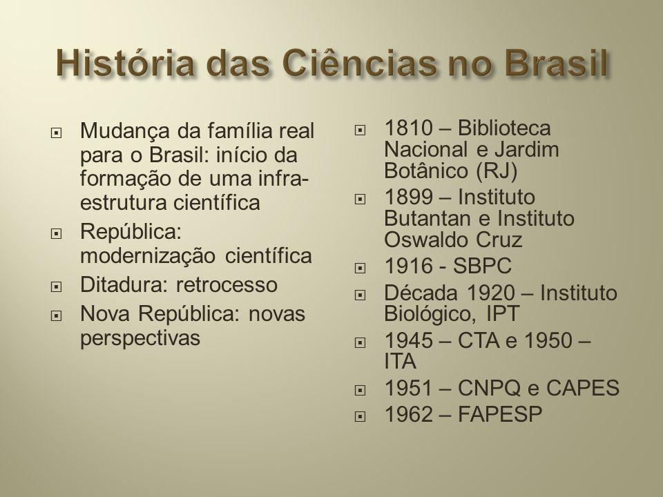  Mudança da família real para o Brasil: início da formação de uma infra- estrutura científica  República: modernização científica  Ditadura: retroc