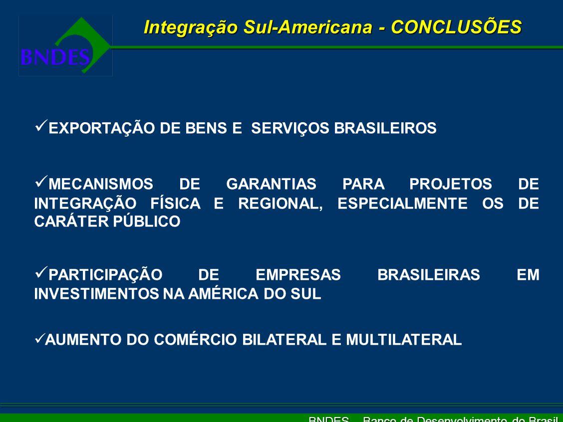 BNDES – Banco de Desenvolvimento do Brasil Integração Sul-Americana - Garantias PRINCIPAL QUESTÃO PARA A VIABILIDADE DOS FINANCIAMENTOS MECANISMOS DE