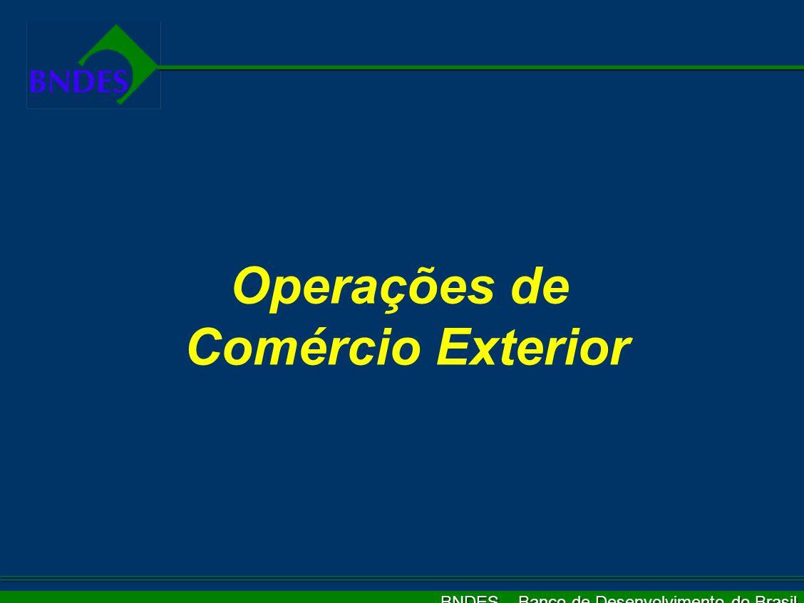 BNDES – Banco de Desenvolvimento do Brasil O BNDES é o principal instrumento do Governo Federal para o financiamento de longo prazo, priorizando:   a recuperação e desenvolvimento da infra-estrutura   a modernização e ampliação da estrutura produtiva   a promoção das exportações   a redução das desigualdades sociais   o fomento às pequenas e médias empresas e APLs   a integração continental da América do Sul BNDES – Atuação Estratégica