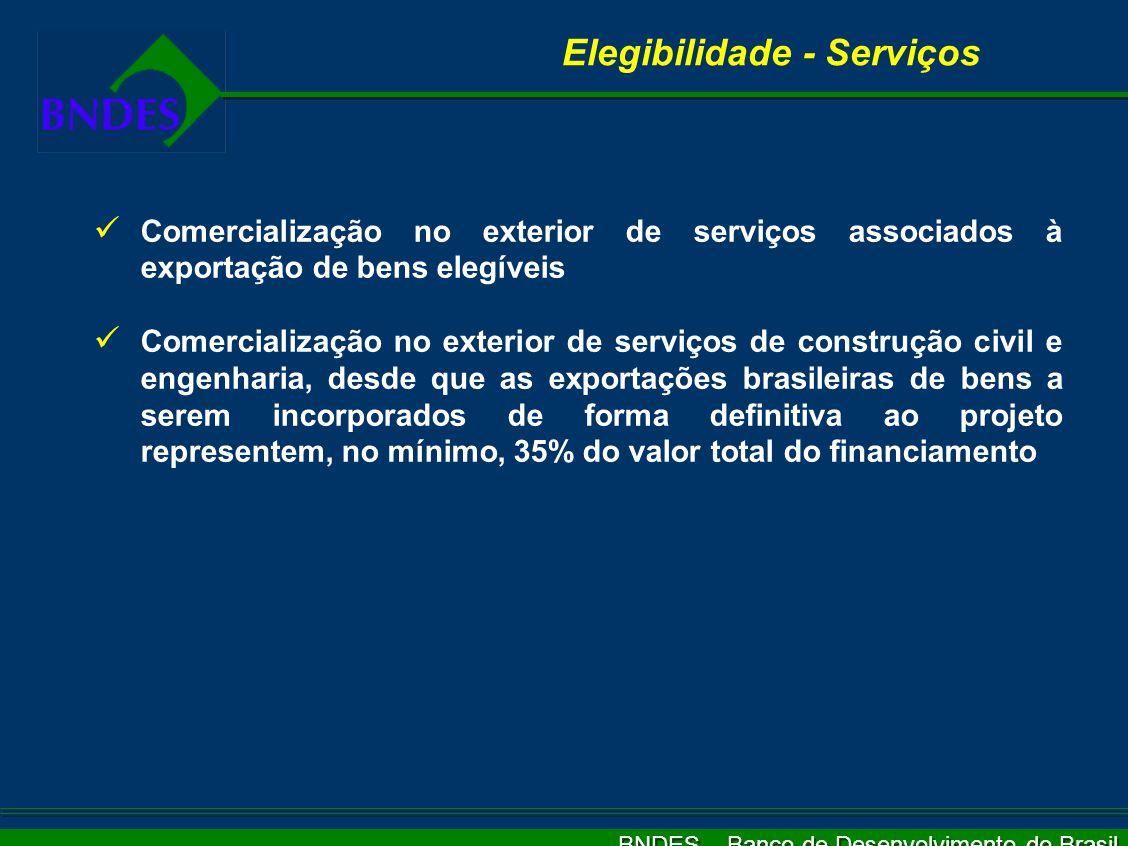 BNDES – Banco de Desenvolvimento do Brasil Elegibilidade Itens Elegíveis Bens de capital Serviços associados à exportação de bens e materiais Outros p