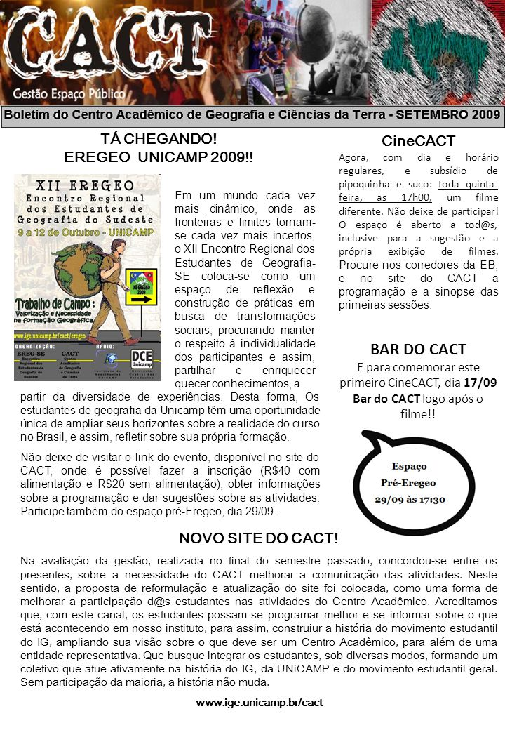 BOLETIM DO CACT NOVO SITE DO CACT.