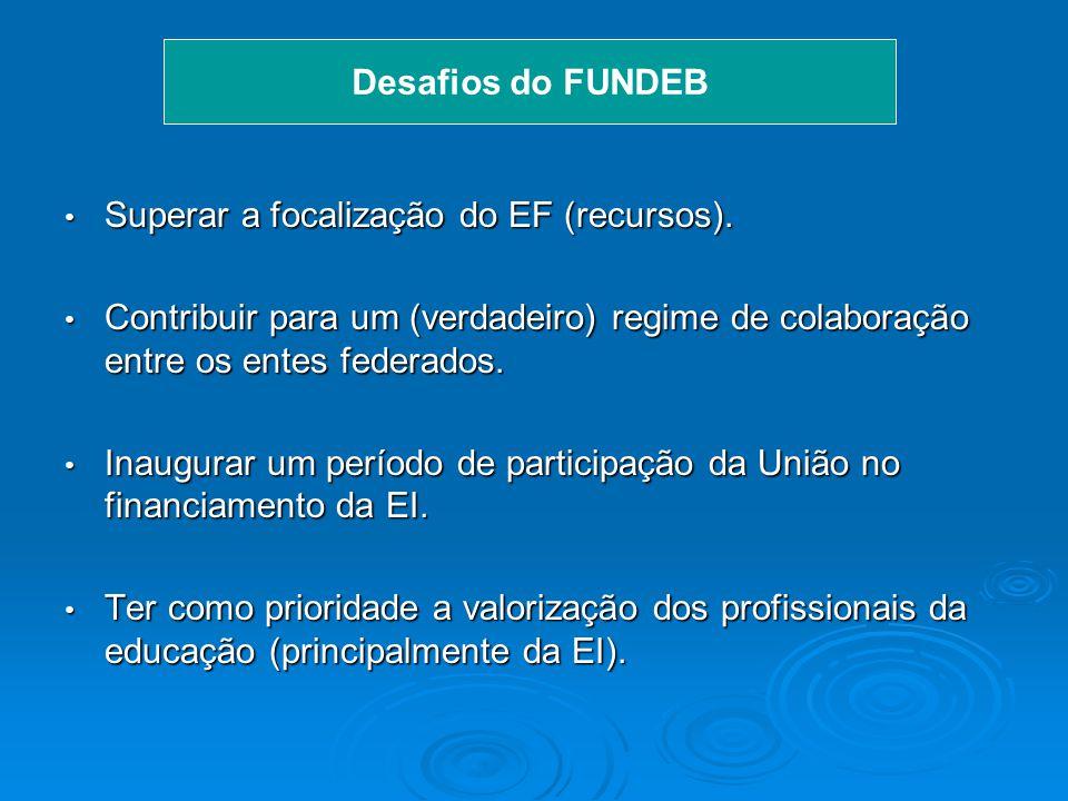 2005 DESAFIOS DO FUNDEB Superar a focalização do EF (recursos).Superar a focalização do EF (recursos).