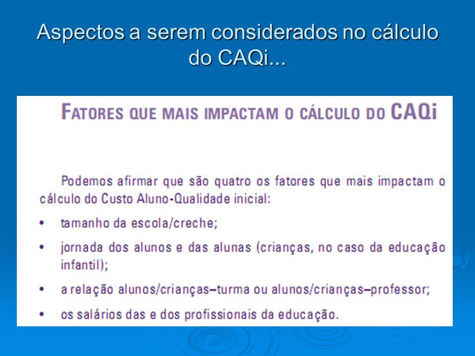 Aspectos a serem considerados no cálculo do CAQi...