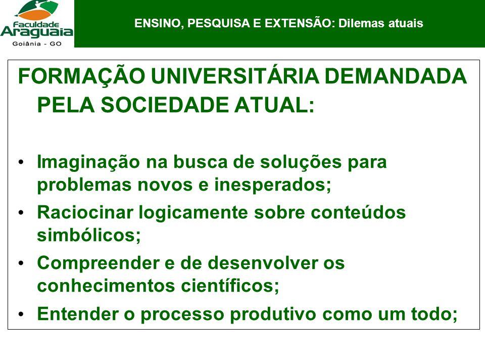 FORMAÇÃO UNIVERSITÁRIA DEMANDADA PELA SOCIEDADE ATUAL: Imaginação na busca de soluções para problemas novos e inesperados; Raciocinar logicamente sobr