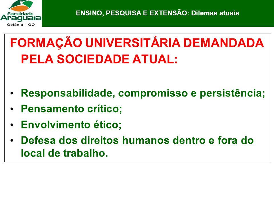 FORMAÇÃO UNIVERSITÁRIA DEMANDADA PELA SOCIEDADE ATUAL: Responsabilidade, compromisso e persistência; Pensamento crítico; Envolvimento ético; Defesa do