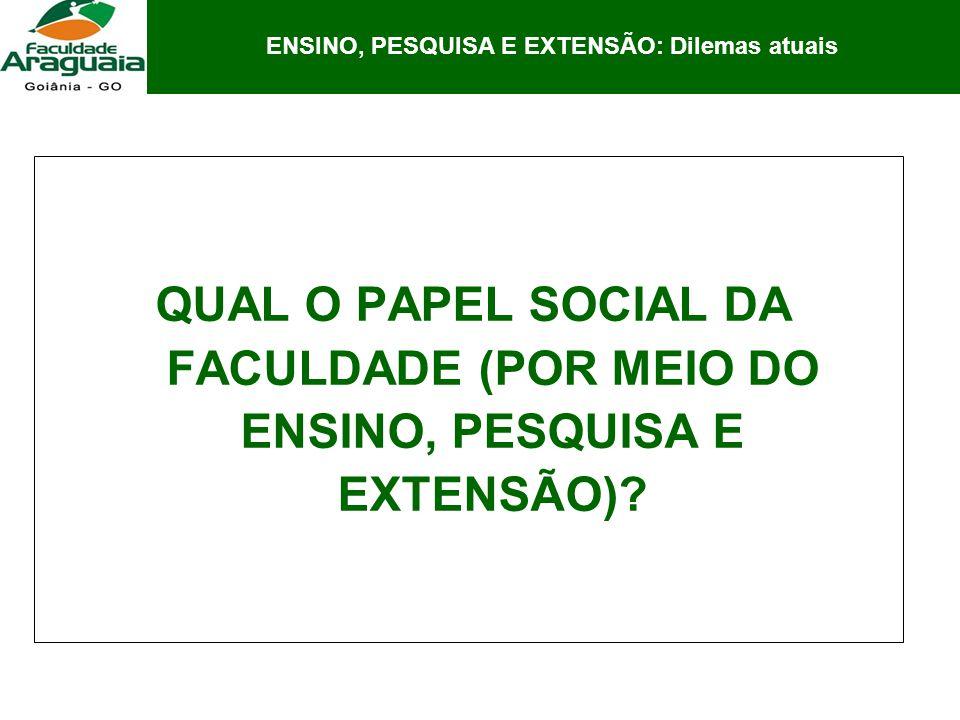 O PAPEL DA FACULDADE (Por meio do Ensino, Pesquisa e Extensão):.