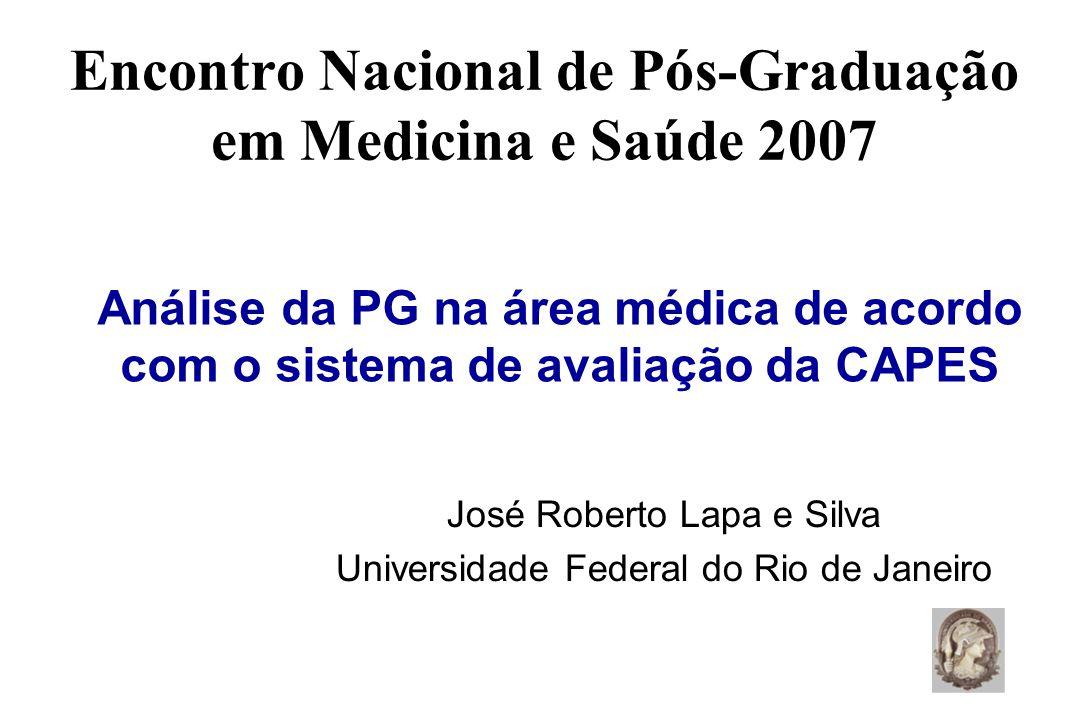 Encontro Nacional de Pós-Graduação em Medicina e Saúde 2007 José Roberto Lapa e Silva Universidade Federal do Rio de Janeiro Análise da PG na área médica de acordo com o sistema de avaliação da CAPES