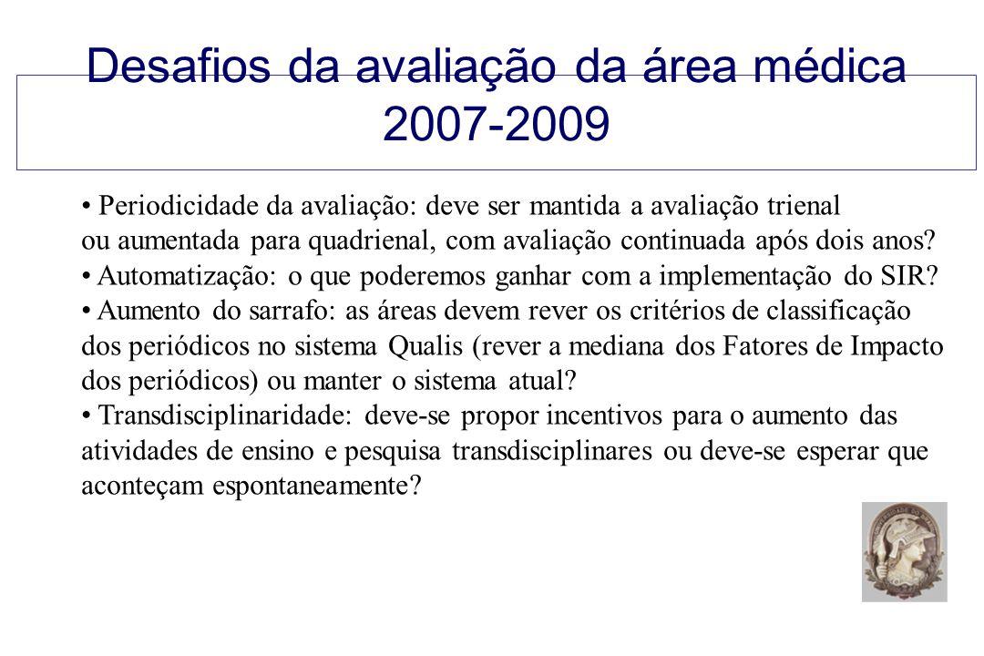 Desafios da avaliação da área médica 2007-2009 Periodicidade da avaliação: deve ser mantida a avaliação trienal ou aumentada para quadrienal, com avaliação continuada após dois anos.