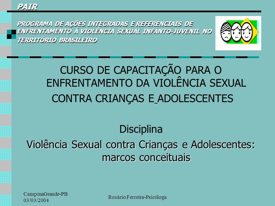 CampinaGrande-PB 03/03/2004 Rosário Ferreira-Psicóloga PAIR PROGRAMA DE AÇÕES INTEGRADAS E REFERENCIAIS DE ENFRENTAMENTO À VIOLÊNCIA SEXUAL INFANTO-JU