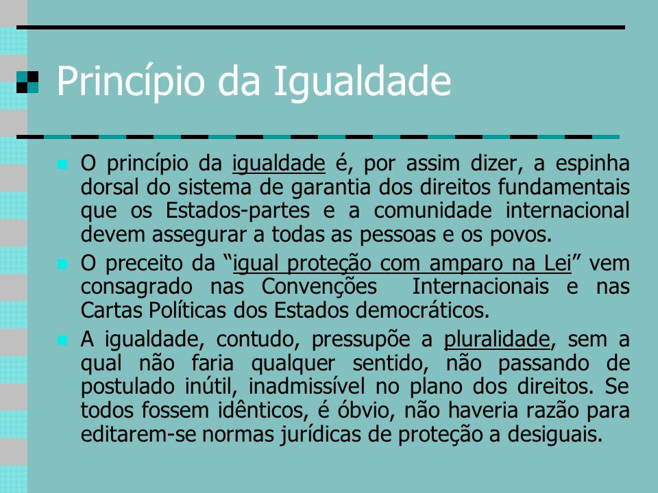 Princípio da Igualdade O princípio da igualdade é, por assim dizer, a espinha dorsal do sistema de garantia dos direitos fundamentais que os Estados-p