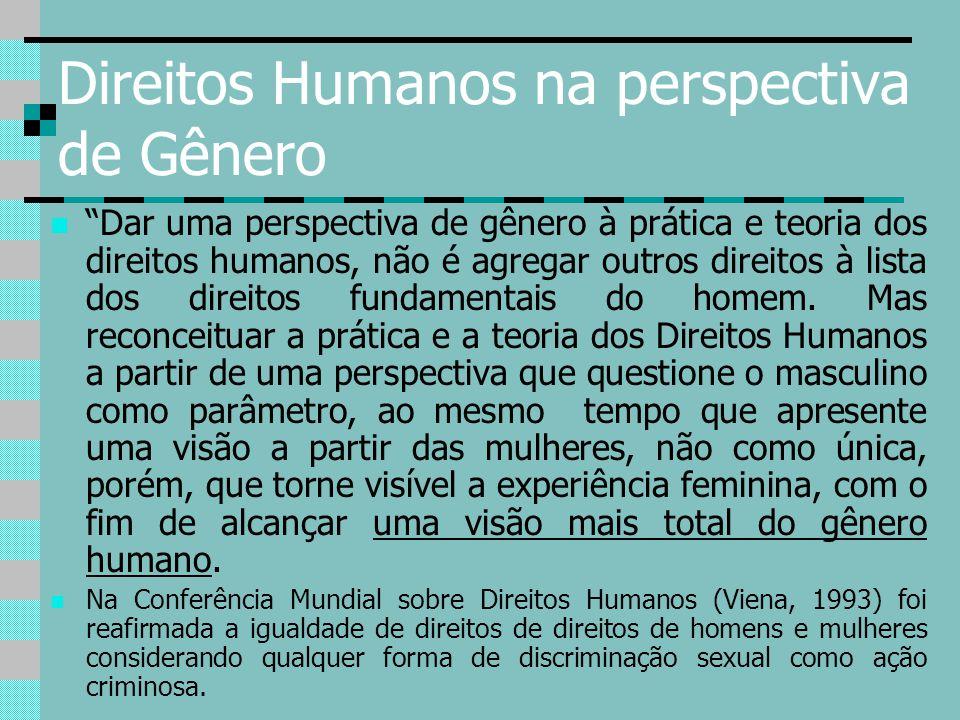 """Direitos Humanos na perspectiva de Gênero """"Dar uma perspectiva de gênero à prática e teoria dos direitos humanos, não é agregar outros direitos à list"""