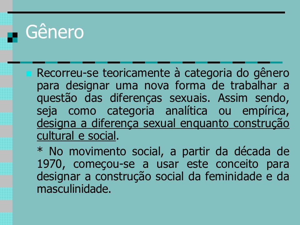 Gênero Recorreu-se teoricamente à categoria do gênero para designar uma nova forma de trabalhar a questão das diferenças sexuais. Assim sendo, seja co