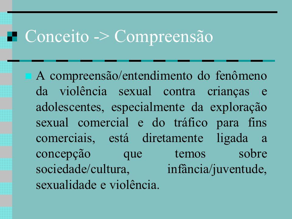 Exploração Sexual Comercial A exploração sexual comercial de crianças e de adolescentes, é compreendida através de quatro modalidades: Prostituição Infantil, Pornografia, Turismo Sexual e Tráfico.