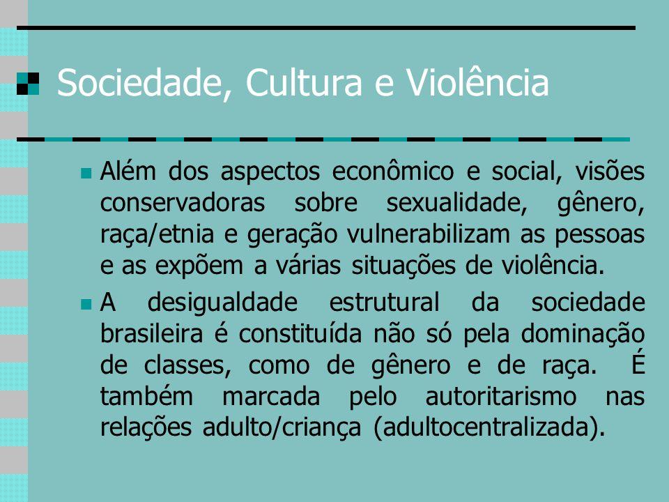 Sociedade, Cultura e Violência Além dos aspectos econômico e social, visões conservadoras sobre sexualidade, gênero, raça/etnia e geração vulnerabiliz