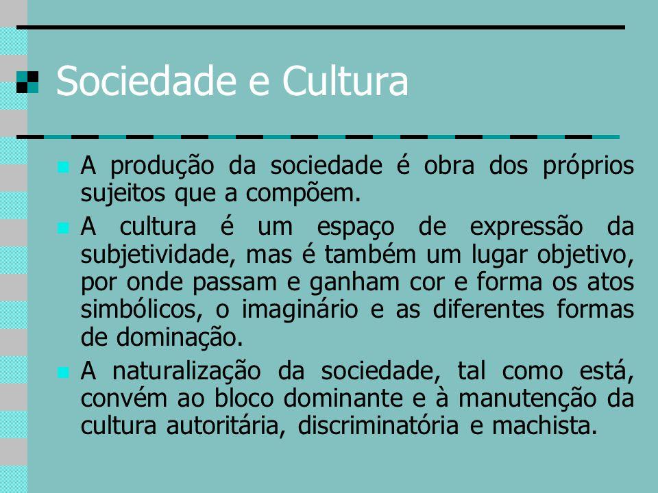 Sociedade e Cultura A produção da sociedade é obra dos próprios sujeitos que a compõem. A cultura é um espaço de expressão da subjetividade, mas é tam