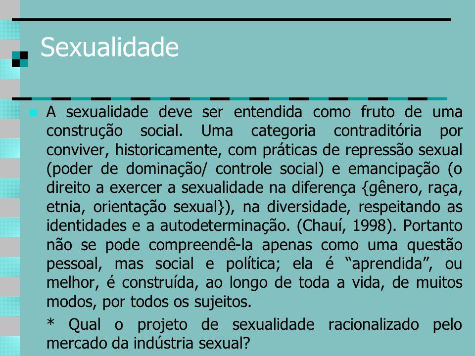 Sexualidade A sexualidade deve ser entendida como fruto de uma construção social. Uma categoria contraditória por conviver, historicamente, com prátic