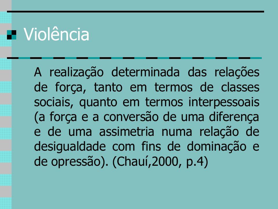 Violência A realização determinada das relações de força, tanto em termos de classes sociais, quanto em termos interpessoais (a força e a conversão de