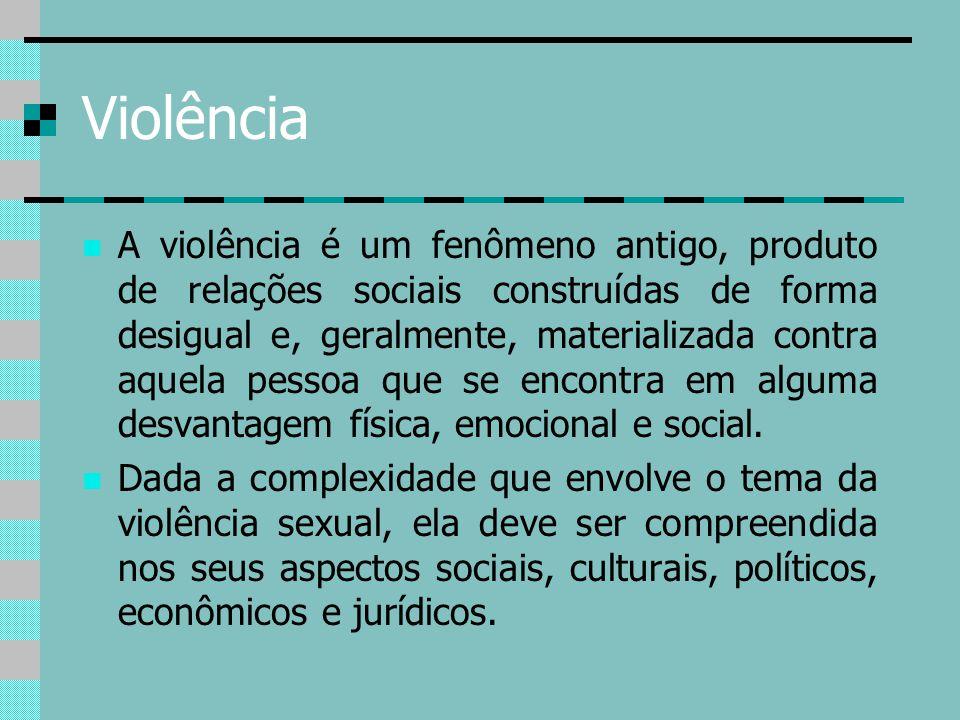 Violência A violência é um fenômeno antigo, produto de relações sociais construídas de forma desigual e, geralmente, materializada contra aquela pesso