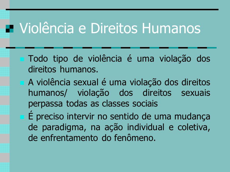 Violência e Direitos Humanos Todo tipo de violência é uma violação dos direitos humanos. A violência sexual é uma violação dos direitos humanos/ viola