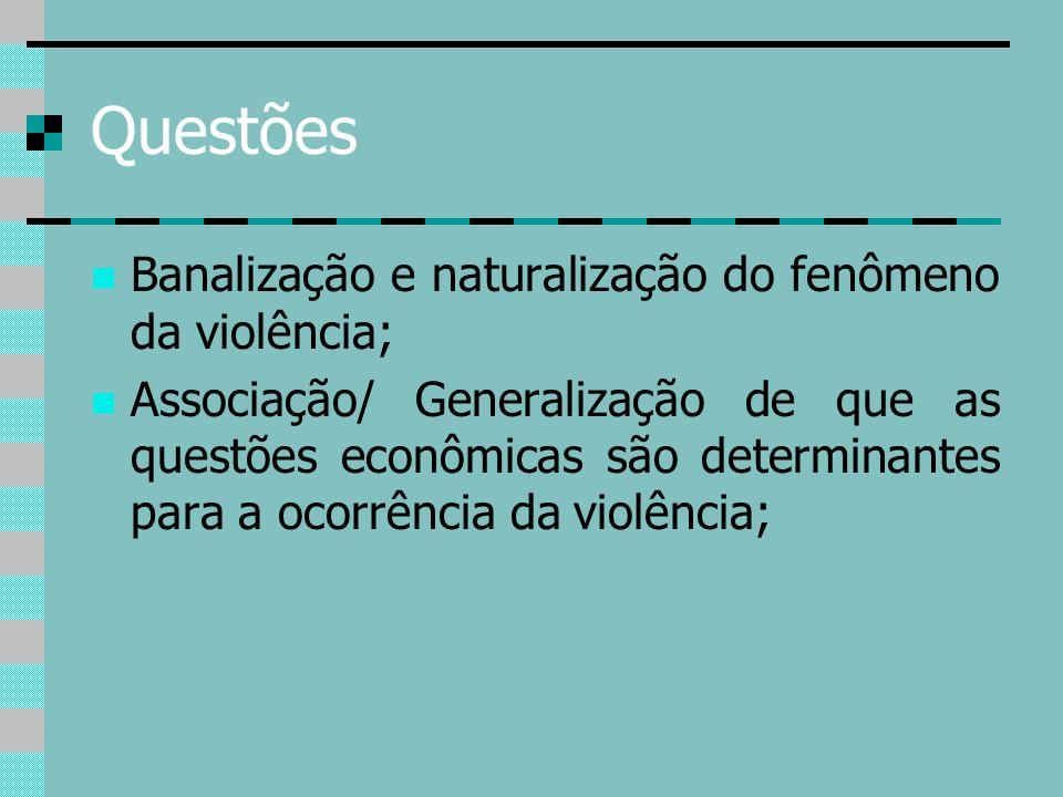 Questões Banalização e naturalização do fenômeno da violência; Associação/ Generalização de que as questões econômicas são determinantes para a ocorrê