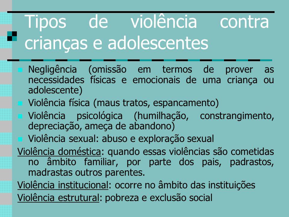 Tipos de violência contra crianças e adolescentes Negligência (omissão em termos de prover as necessidades físicas e emocionais de uma criança ou adol