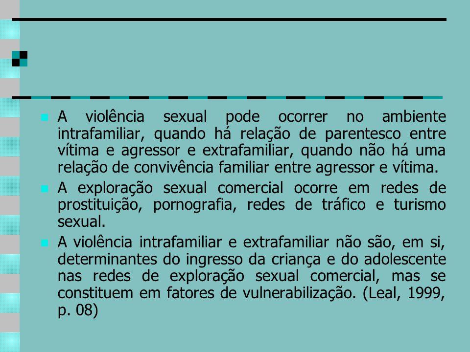A violência sexual pode ocorrer no ambiente intrafamiliar, quando há relação de parentesco entre vítima e agressor e extrafamiliar, quando não há uma
