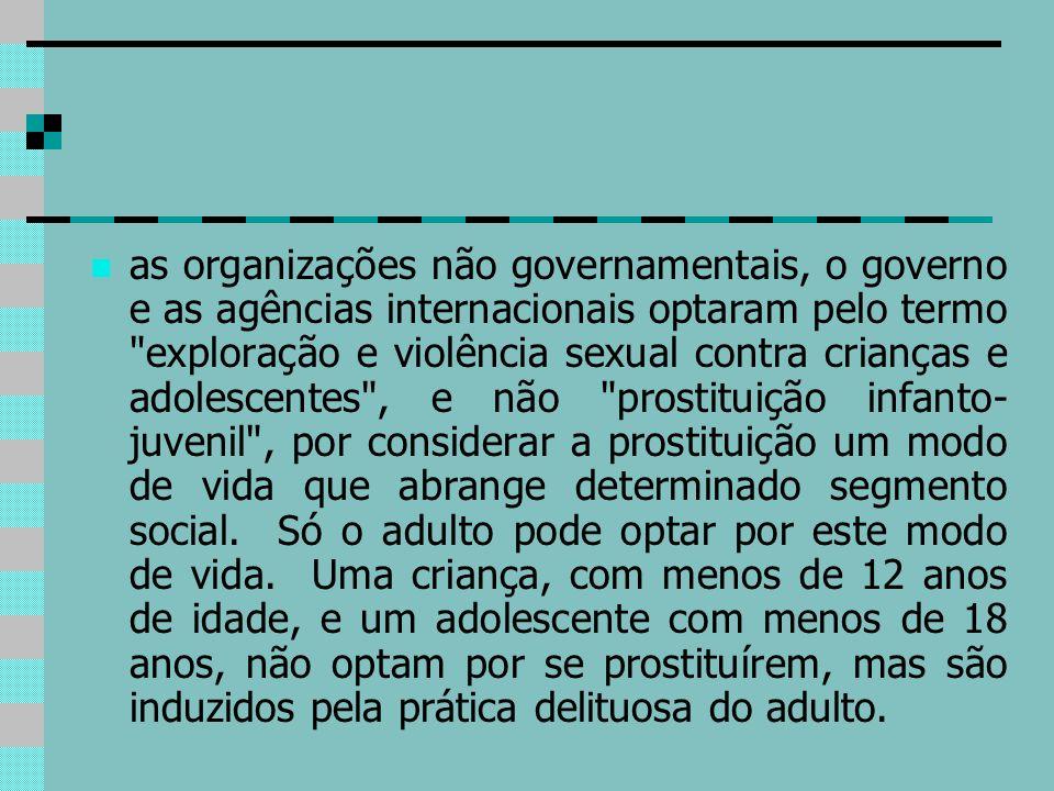 as organizações não governamentais, o governo e as agências internacionais optaram pelo termo