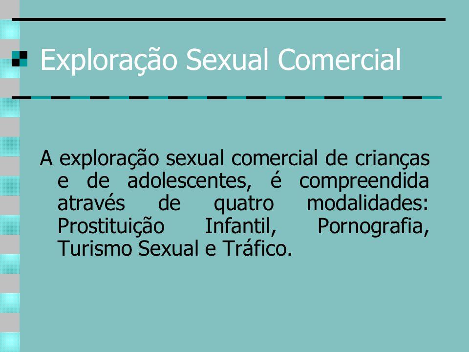 Exploração Sexual Comercial A exploração sexual comercial de crianças e de adolescentes, é compreendida através de quatro modalidades: Prostituição In