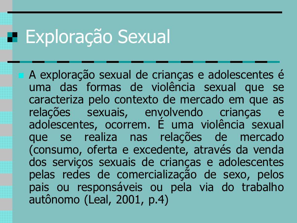 Exploração Sexual A exploração sexual de crianças e adolescentes é uma das formas de violência sexual que se caracteriza pelo contexto de mercado em q