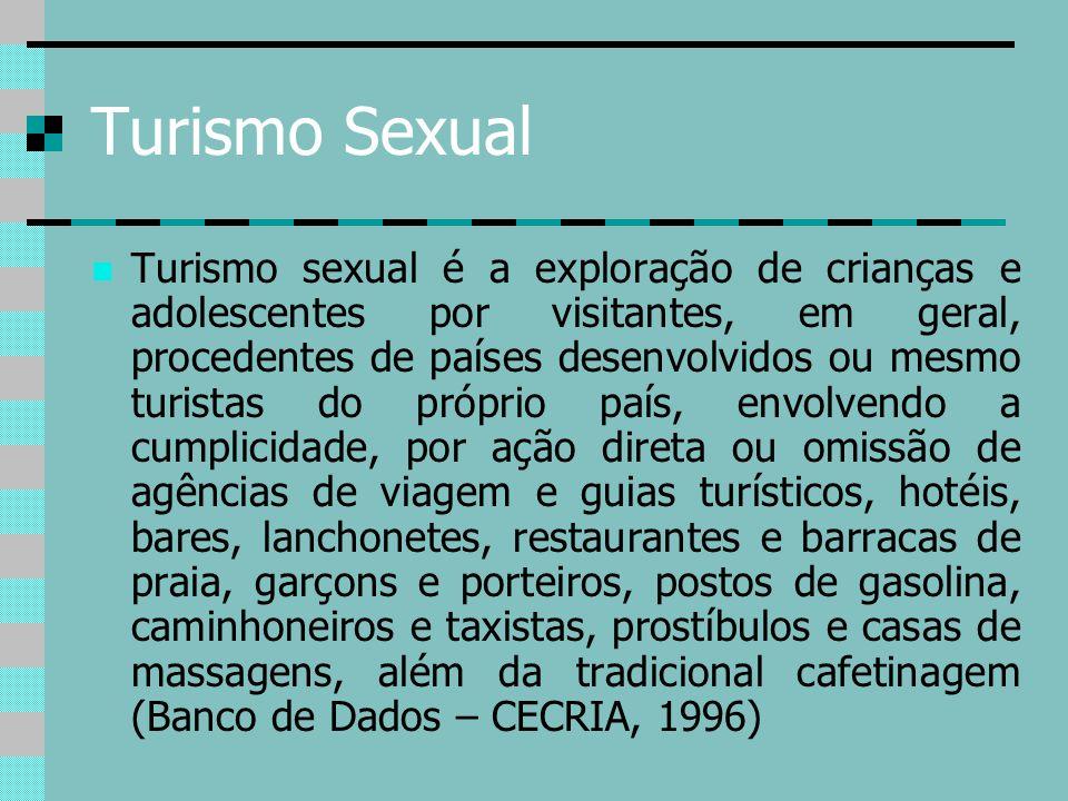 Turismo Sexual Turismo sexual é a exploração de crianças e adolescentes por visitantes, em geral, procedentes de países desenvolvidos ou mesmo turista