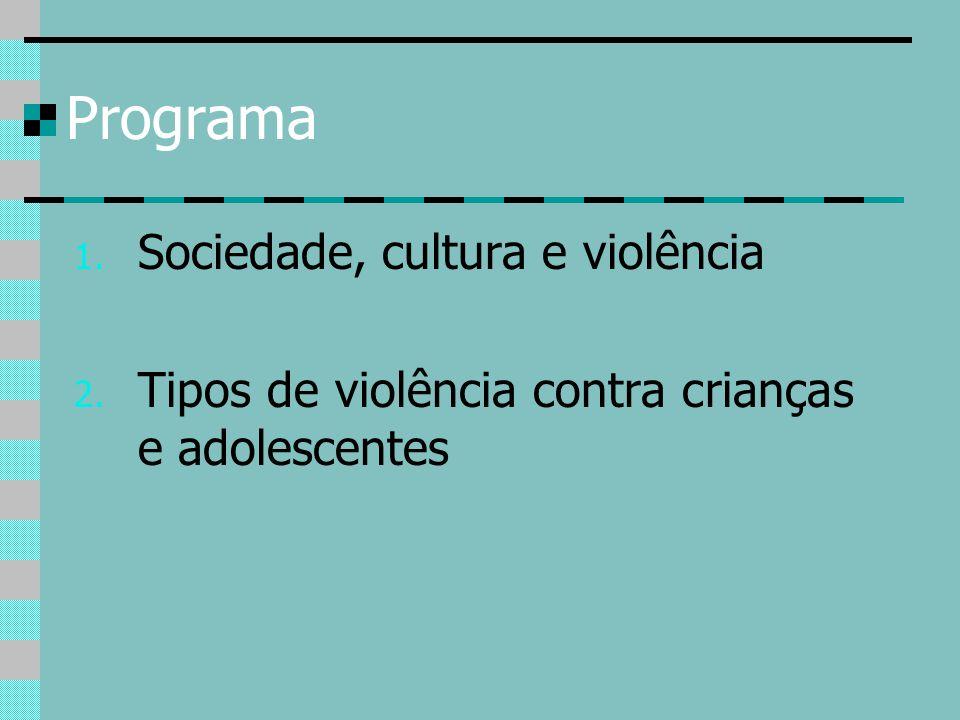 Tipos de violência contra crianças e adolescentes Negligência (omissão em termos de prover as necessidades físicas e emocionais de uma criança ou adolescente) Violência física (maus tratos, espancamento) Violência psicológica (humilhação, constrangimento, depreciação, ameça de abandono) Violência sexual: abuso e exploração sexual Violência doméstica: quando essas violências são cometidas no âmbito familiar, por parte dos pais, padrastos, madrastas outros parentes.