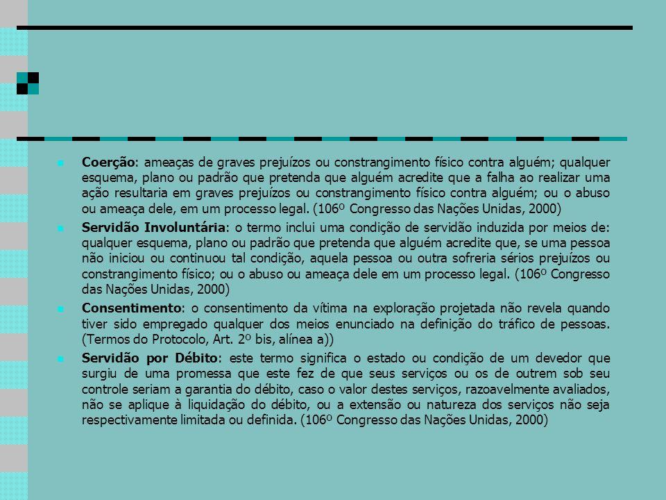 Coerção: ameaças de graves prejuízos ou constrangimento físico contra alguém; qualquer esquema, plano ou padrão que pretenda que alguém acredite que a