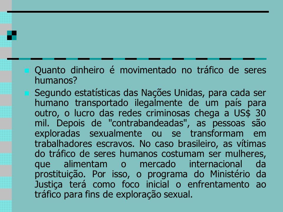 Quanto dinheiro é movimentado no tráfico de seres humanos? Segundo estatísticas das Nações Unidas, para cada ser humano transportado ilegalmente de um