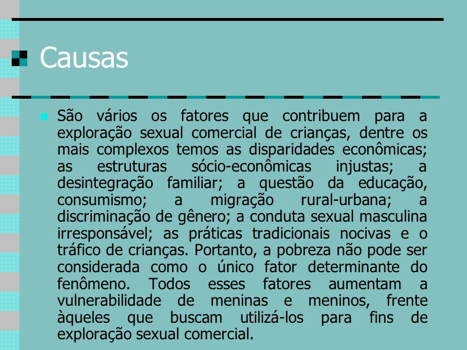 Causas São vários os fatores que contribuem para a exploração sexual comercial de crianças, dentre os mais complexos temos as disparidades econômicas;