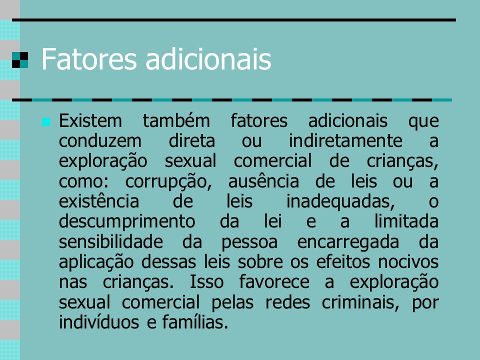 Fatores adicionais Existem também fatores adicionais que conduzem direta ou indiretamente a exploração sexual comercial de crianças, como: corrupção,