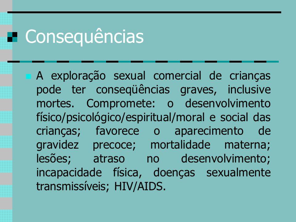 Consequências A exploração sexual comercial de crianças pode ter conseqüências graves, inclusive mortes. Compromete: o desenvolvimento físico/psicológ