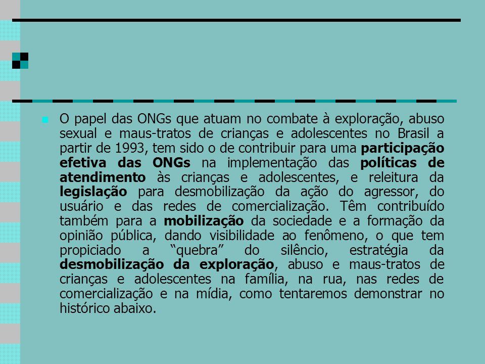 O papel das ONGs que atuam no combate à exploração, abuso sexual e maus-tratos de crianças e adolescentes no Brasil a partir de 1993, tem sido o de co