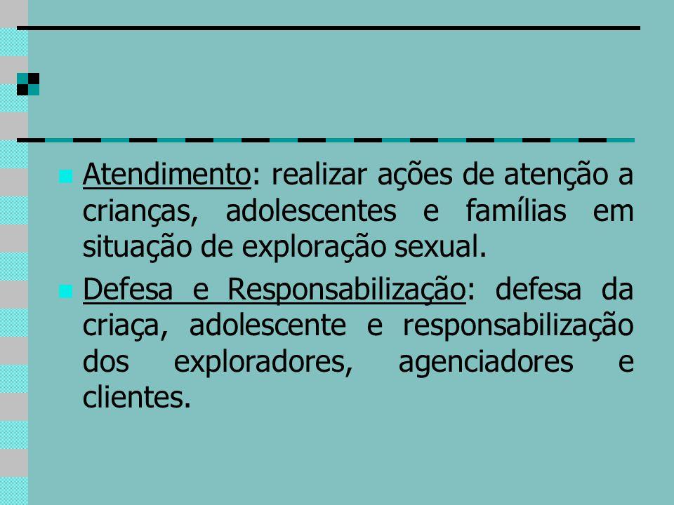 Atendimento: realizar ações de atenção a crianças, adolescentes e famílias em situação de exploração sexual. Defesa e Responsabilização: defesa da cri