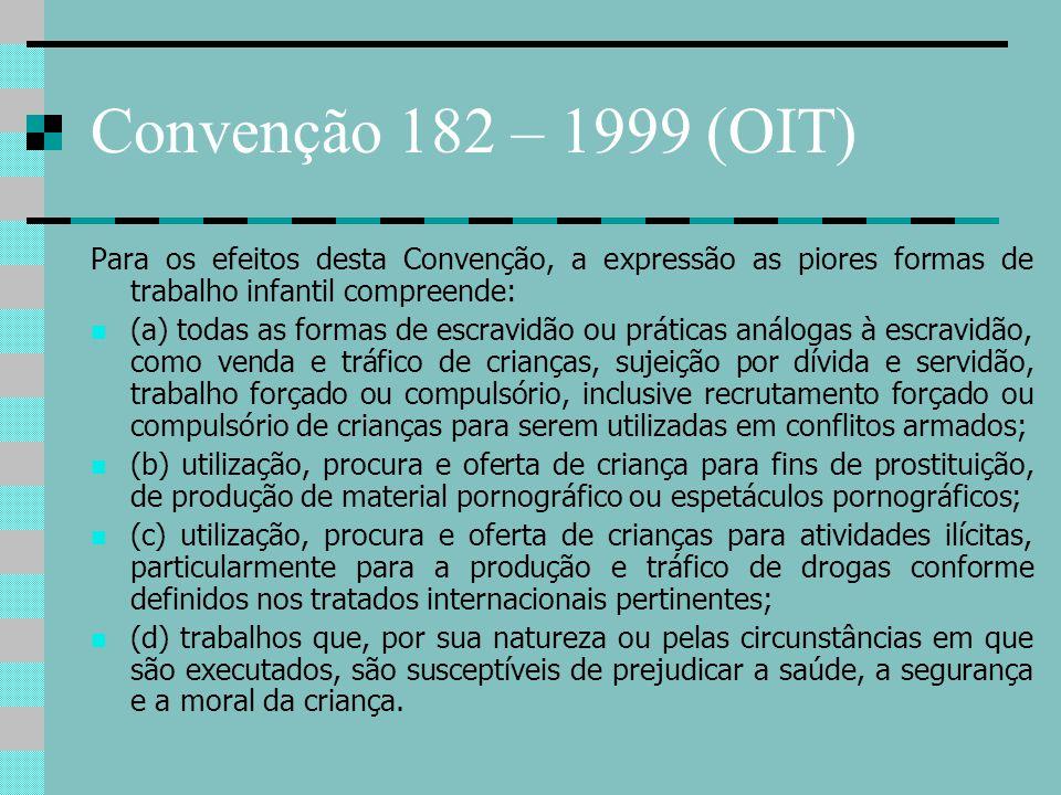 Convenção 182 – 1999 (OIT) Para os efeitos desta Convenção, a expressão as piores formas de trabalho infantil compreende: (a) todas as formas de escra