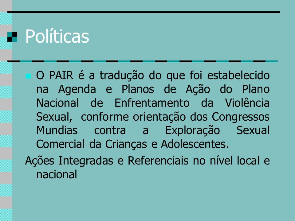 Políticas O PAIR é a tradução do que foi estabelecido na Agenda e Planos de Ação do Plano Nacional de Enfrentamento da Violência Sexual, conforme orie