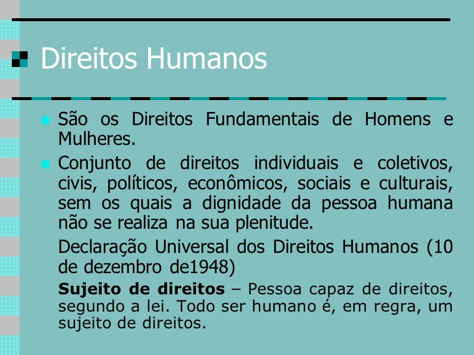 Direitos Humanos São os Direitos Fundamentais de Homens e Mulheres. Conjunto de direitos individuais e coletivos, civis, políticos, econômicos, sociai