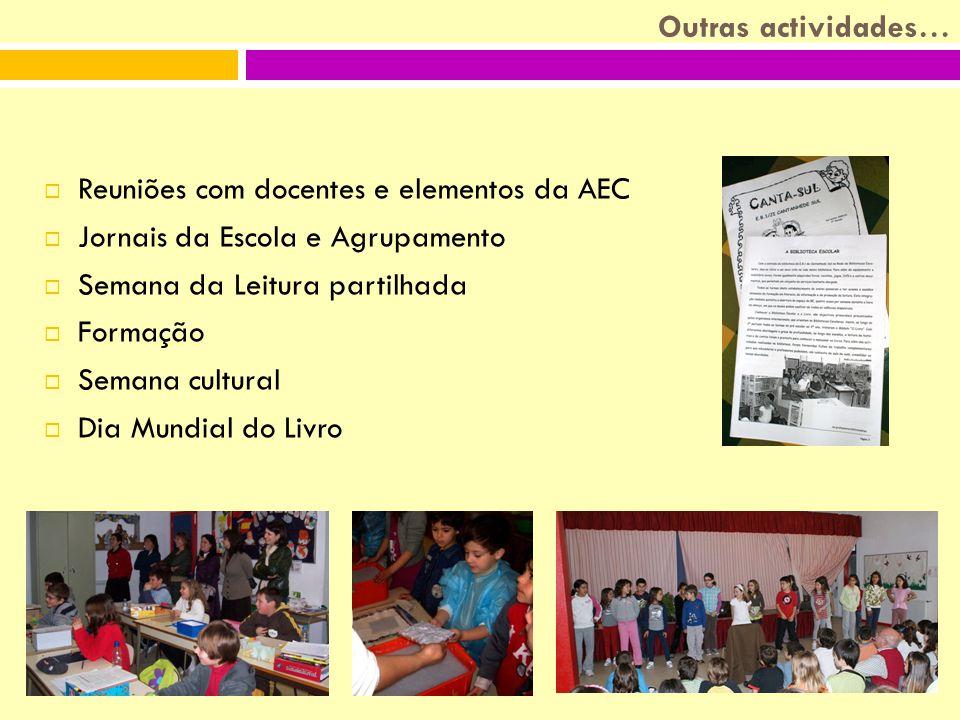 Outras actividades… RReuniões com docentes e elementos da AEC JJornais da Escola e Agrupamento SSemana da Leitura partilhada FFormação SSemana cultural DDia Mundial do Livro