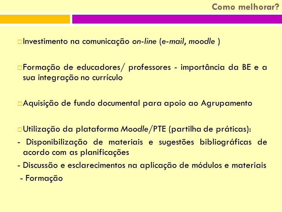 IInvestimento na comunicação on-line (e-mail, moodle ) FFormação de educadores/ professores - importância da BE e a sua integração no currículo AAquisição de fundo documental para apoio ao Agrupamento UUtilização da plataforma Moodle/PTE (partilha de práticas): - Disponibilização de materiais e sugestões bibliográficas de acordo com as planificações - Discussão e esclarecimentos na aplicação de módulos e materiais - Formação