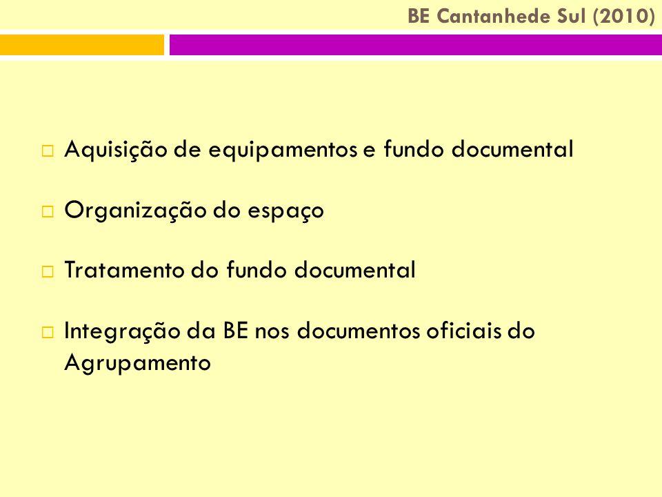 BE Cantanhede Sul (2010)  Aquisição de equipamentos e fundo documental  Organização do espaço  Tratamento do fundo documental  Integração da BE nos documentos oficiais do Agrupamento