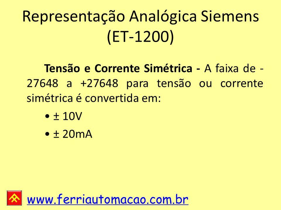 www.ferriautomacao.com.br Representação Analógica Siemens (ET-1200) Tensão e Corrente Simétrica - A faixa de - 27648 a +27648 para tensão ou corrente simétrica é convertida em: ± 10V ± 20mA