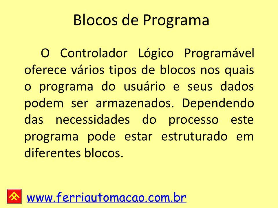 www.ferriautomacao.com.br Blocos de Programa O Controlador Lógico Programável oferece vários tipos de blocos nos quais o programa do usuário e seus dados podem ser armazenados.