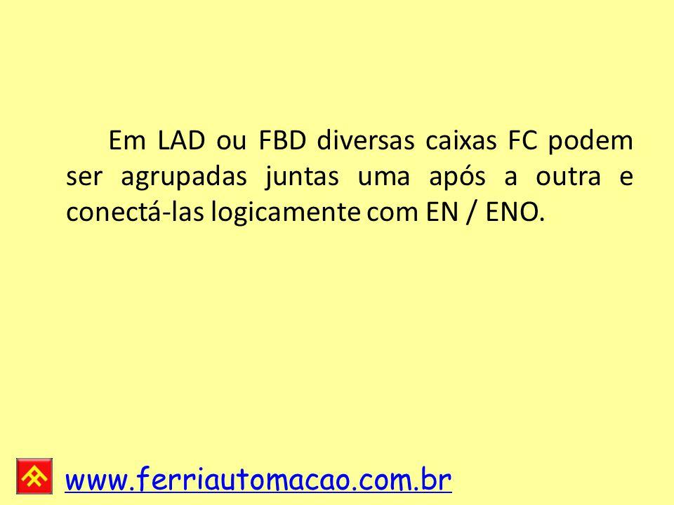 www.ferriautomacao.com.br Em LAD ou FBD diversas caixas FC podem ser agrupadas juntas uma após a outra e conectá-las logicamente com EN / ENO.